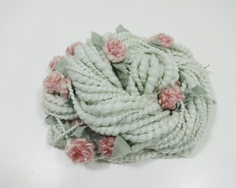 Seaside Rose Handspun Art Yarn Flower Yarn 36 yards light seamfoam green by Autumn Rose