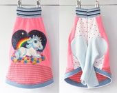 rainbow bright COURTNEYCOURTNEY italian greyhound upcycled jersey tshirt outfit top heart clothing unicorn pink blue sparkle