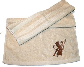 Angel Silhouette Hand Towel Embroidered Beige with  Brown Angel