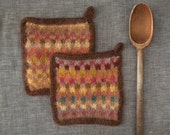 Set of Two Felted Potholders Wool Hot Pads  Felt Trivet  Functional Art  Modern Kitchen  Hand Made in Autumn Colors of Yellow, Gold, Reds