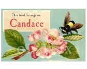 Personalized Bookplates - Vintage Bumble Bee - Ex Libris, Gorgeous Birthday Gift