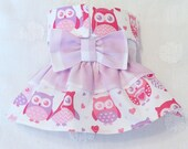 Female Dog Diaper Skirt  Perfect for your dog in Season and House Training Owls and Hearts