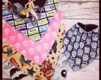 Custom Punk Rock Bandana Drool Bib for baby or toddler with any print you would like and minky or organic cotton velour on back skull guitar