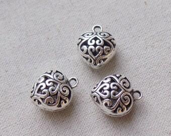 3 Silver tone Holllow Heart Charms Pendants