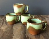 Prairie Green Frankoma Mugs  5C - 1950s Mugs -Set of 4