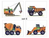 Construction Prints, Truck Art, Construction Art, Vehicles, Vintage Art Prints Kids Tonka Truck Boy Bedding Decor