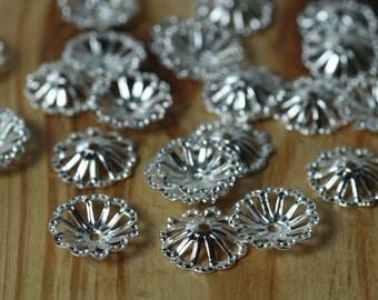 Silver plated bead cap 8mm, 48 pcs (item ID YWASXH401004-0.3)