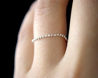 NEW Thin Sterling Silver Beaded Chain ring, silver bead ring, 1mm chain ring, delicate ring, silver bead ring, silver wedding band