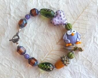 OWL BE FINE - Artisan Lampwork Glass and Sterling Silver Bracelet Earring Set