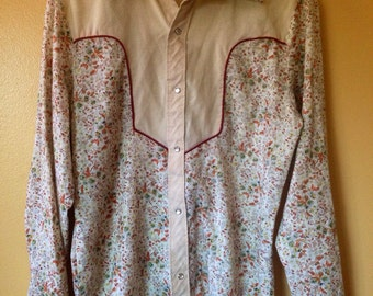 Vtg 70s Western Pearl Snap Earthy Floral Shirt