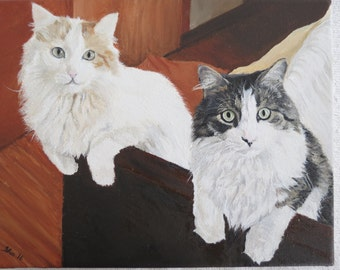 Cat Pet Portrait Original Oil Painting 8 x 10 inches Made to Order by Pigatopia