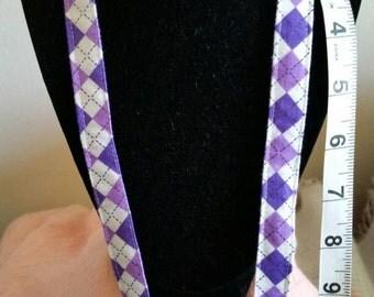 Lavender/White Argyle Lanyard