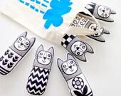 Scandinavian Toy Kit To Make 6 x Cats by Jane Foster plush toys Monochrome