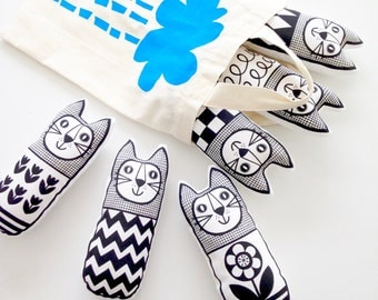 Black Screen Printed Scandinavian Toy Kit To Make 6 x Cats by Jane Foster plush toys Monochrome