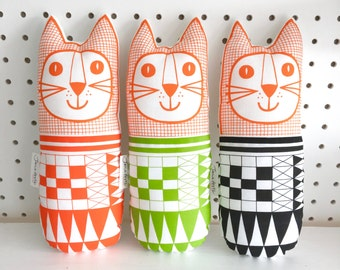 New geometric monochrome fabric toy cat made and designed by Jane Foster  - British designer