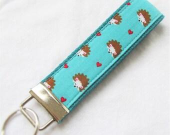 KeyFob Key Chain Wristlet - Hedgehogs on Aqua - Fabric Keychain