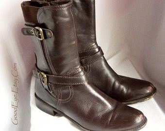 Funky Leather Combat Ankle Boots sz 9 .5 m  Eur 41 UK 7 VANELI Harness Buckles Fudge Brown STRETCH