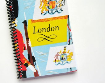London Travel Journal, Writing, Diary, Back to School, Gifts Under 20, Blank Notebook, 4x6 Inches, Pocket, Spiral Bound, Traveller Gifts