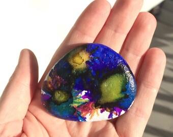 Painted river rock - Painted stone - Alcohol ink - Miniature painting - Original art - Alaska art - Flower art - Gift for teacher - Under 10