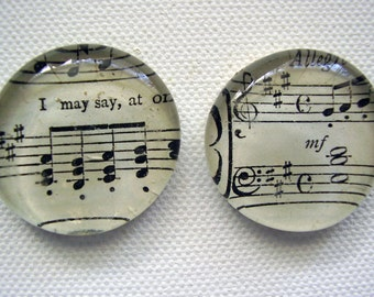 Set of two large music glass pebble magnets super strong