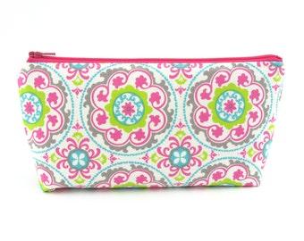 Pink and Grey Geometric Cosmetic Bag, Zip Pouch, Makeup Bag, Pencil Case, Zipper