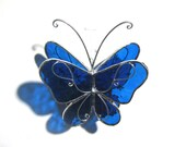 Night Flight - 3D Stained Glass Butterfly Twirl -  Small Blue Home and Garden Decoration Hanging Suncatcher Yard Art (READY TO SHIP)