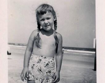 vintage photo 1949 Little Girl Long Braid Hair Bathing Skirt Bottom Tan at Beach