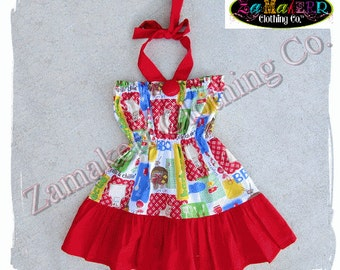 2T 24 month 3T 3 ONLY Clearance Boutique Clothing Girl Summer Halter Dress Flag Picnic BBQ Birthday Grilling Size 24 month 2 2T 3 3T
