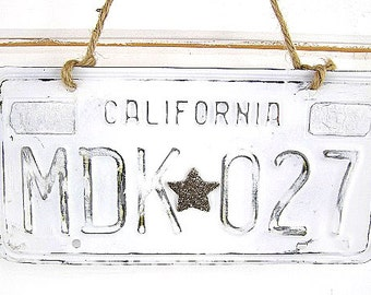 White Vintage California License Plate (Glitter Star Design)