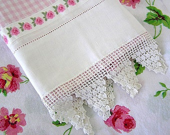 Pink and White Gingham Kitchen Guest Towel Vintage Bottom Lace Trim