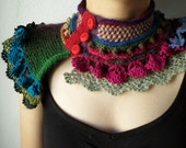 knitted and crocheted statement scarflette  - in purple, burgundy, red, blue, beige and green tones