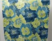 Adult Bib, Rib Bib, Clothing Protector/Shield/Make-up Bib-Long Length:  Blue, Green and Cream Floral