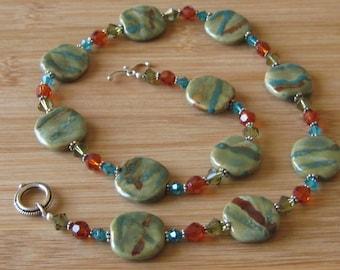 Kazuri Strung Necklace with Swarovski Crystals of Lime, Rust & Aqua