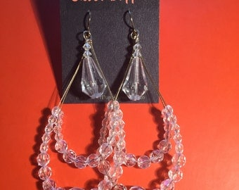Large crystal tear drop earrings
