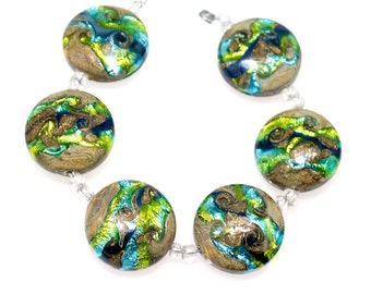 Green and blue 18mm lentil  Lampwork beads, lampwork glass beads SRA set of 6, Glass beads , lampwork glass beads, lampwork, handemade beads