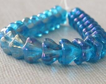 Teal Blue Czech Glass Bead Iris Luster Finish 8x6mm Bell Flower : 25 pc Blue Flower