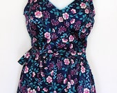 Sz 16 / 38 Vintage Swimsuit 60s 70s  Belted Disty Navy/Pink Floral Skirted Swimsuit
