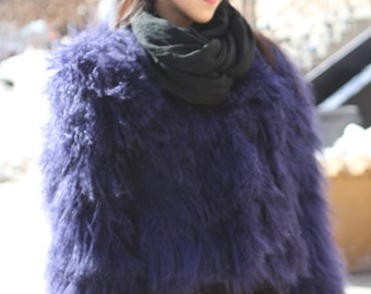 80s Vintage Oversized Purple Mongolian Tibet Shaggy Fluffy Curly Hair Fur Lamb Jacket Coat xs-med