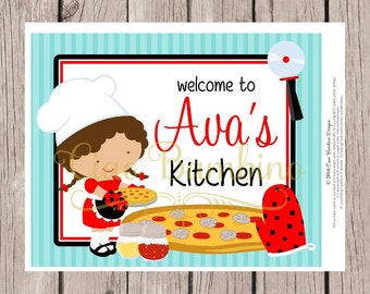 PRINTABLE Little Chef Sign for Pizza Party, Pizza Making Party, Pizzeria, Choose Boy or Girl & Hair Color / Personalized 8x10 Sign You Print