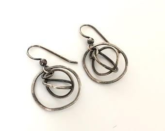 Silver Orbit Earrings Kinetic Oxidized Rustic Industrial Interlocking Rings