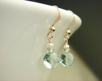 Blue Topaz, Shappire, Pearl in Rose Gold Earrings