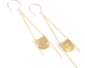 Long Boho Earrings, 14k Gold Fill Metal Chain Earrings, Long Chain Earrings, Metal Discs, Gift for Her, Summertime Jewelry - Scale Earrings