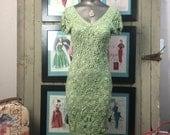 Vintage crochet dress size small 1990s knit wiggle dress 90s hourglass dress