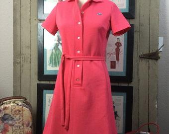 1960s pink dress 60s chemise lacoste size medium Vintage tennis dress preppy shirt dress