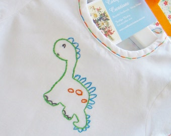 Baby Dinosaur - Hand Embroidered Vintage Style Cotton Romper