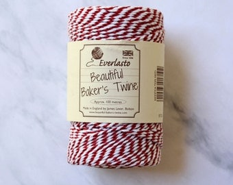 Twine, Bakers Twine, Packaging Twine, Cotton Twine, Gift Wrap, String, Cotton Twine, Red, White, Rustic, Twine Supplies