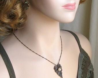 SALE 20% off Pearl Necklace with Leaf, Leaf necklace, Pearl Leaf Necklace, Gift for Her Jewelry, Gift for Grandma,