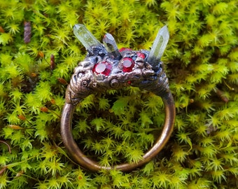 Cave Cluster Ring No.4 ~  Red Crystal Chaton and Triple Quartz Points Copper-plated Ring Electroforming SIZE 8.5