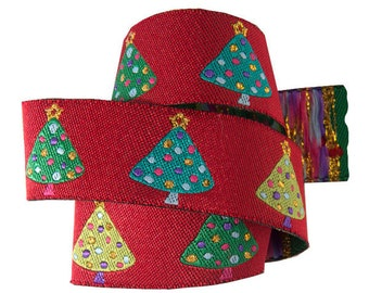 Christmas tree ribbon, BRAND NEW!  trees with metallic, 7/8 inch