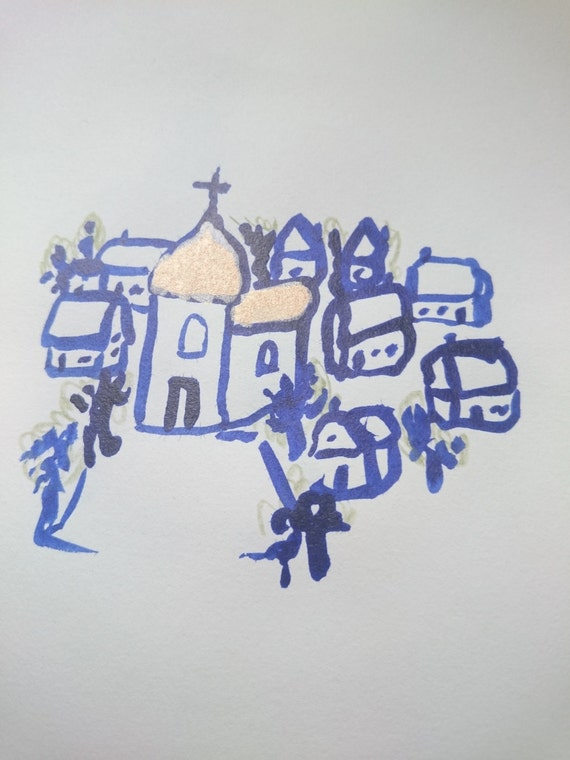 30% off with BLACKFRIDAY coupon - Gold and blue Christmas village drawing